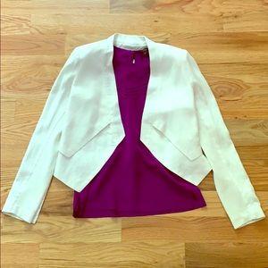 BCBG Cropped White Open Front Blazer